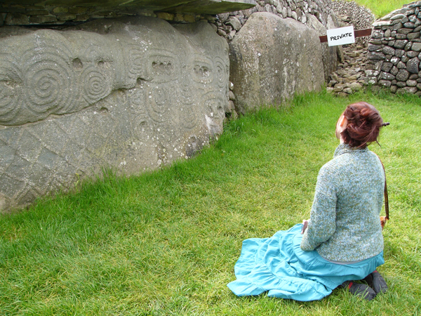 Student at Newgrange in Eire